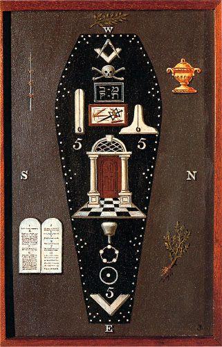 Third Degree Tracing Board. Hand-painted on wood. Josiah Bowring: 1819. [p. 49, MacNulty]