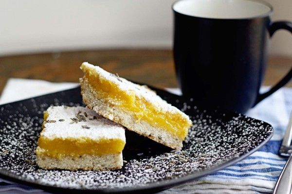 Meyer Lemon Bars with Lavender Shortbread Crust