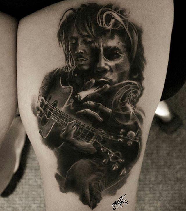 Bob Marley piece by artist @garymossman #bobmarley #ink #tattoo #inksav .