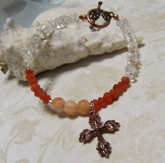 Peach quartz orange carnelian and crystal by LifeStoneJewelry