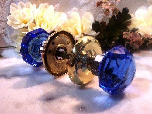 Solid crystal door knobs cobalt blue amazon home amp kitchen