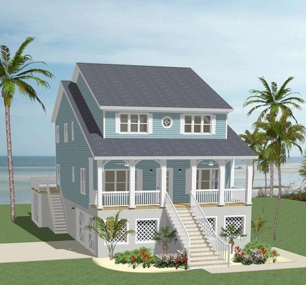 This #beach #houseplan has a beautiful porch for enjoying the ocean! Check out more details at: http://houseplans.housingzone.com/plan/5532/