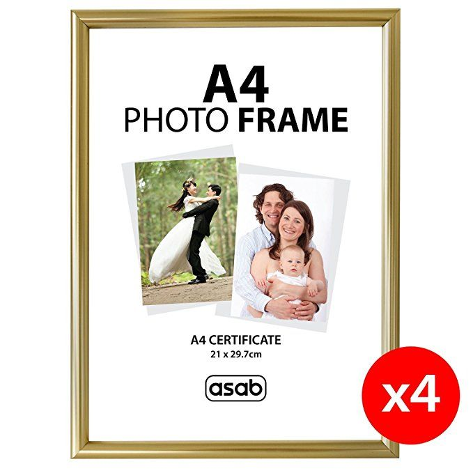 Asab A4 Photo Certificate Picture Frame Wall Hanging Desk Mountable Plain Gold 1 Pack Amazon Co Uk Kitchen Home Photo Frame Frame Picture Frame Wall