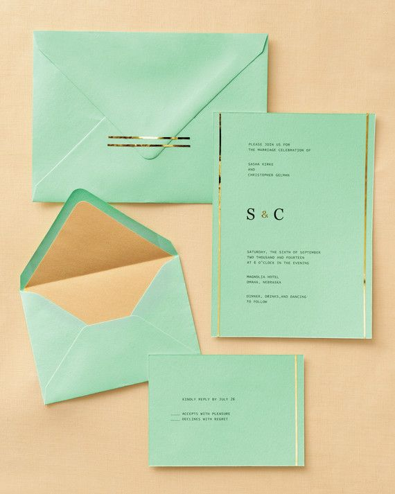 """A thin roll of foil tape is an easy, budget-friendly alternative to foil-stamping. It adds a gilded touch to invitations and reply cards, especially when paired with other golden details, like the ampersand on this invite. Decorate as ornately as you'd like, or let a little go a long way.3M """"Scotchcal""""striping tape.Pioneer Photo Albums 3-D gold letter stickers, stuff4scrapbooking.com.""""Green Tea"""" cover stock, envelopes, and envelope liners, paperpresentation.com."""