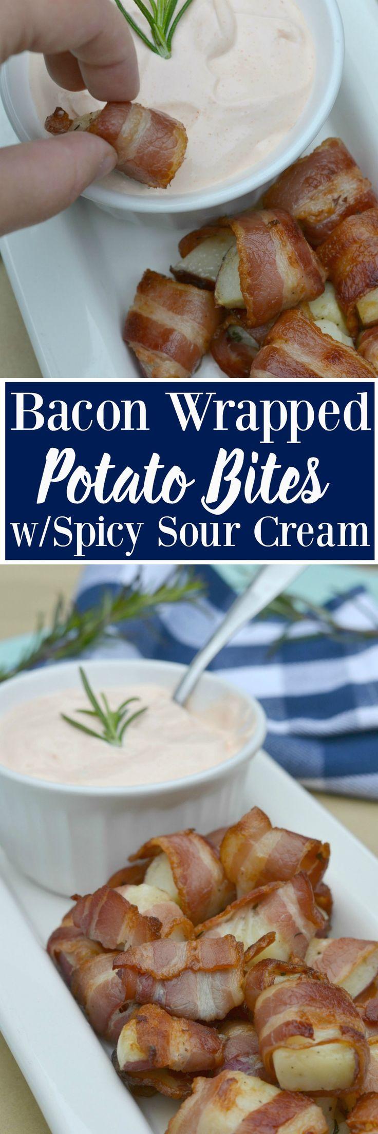 Bacon Wrapped Potato Bites with Spicy Sour Cream Dip