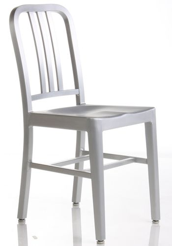 Aluminum cafe and restaurant side chair is inspired by 1940s designs  created and implemented for the