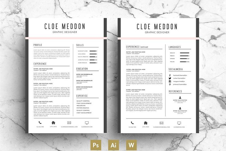 Resume template / CV Template by Emily's ART Boutique on @creativemarket