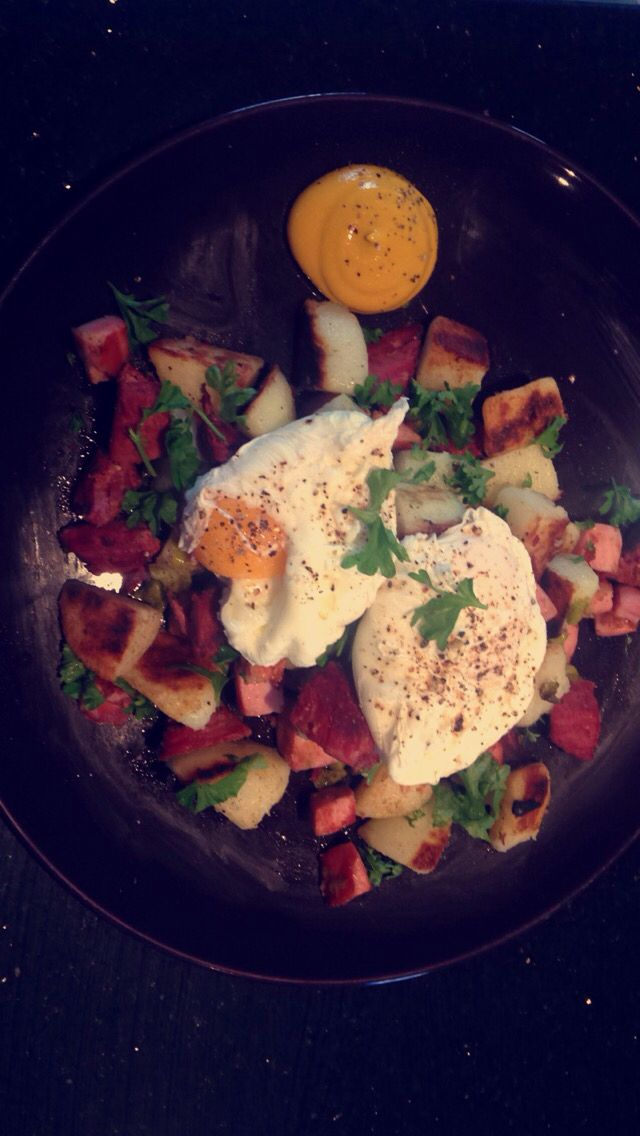 NZ inspired big breakfast -  Slow cooked silver side (made the night before) with lightly pan fried potatoes and poached eggs