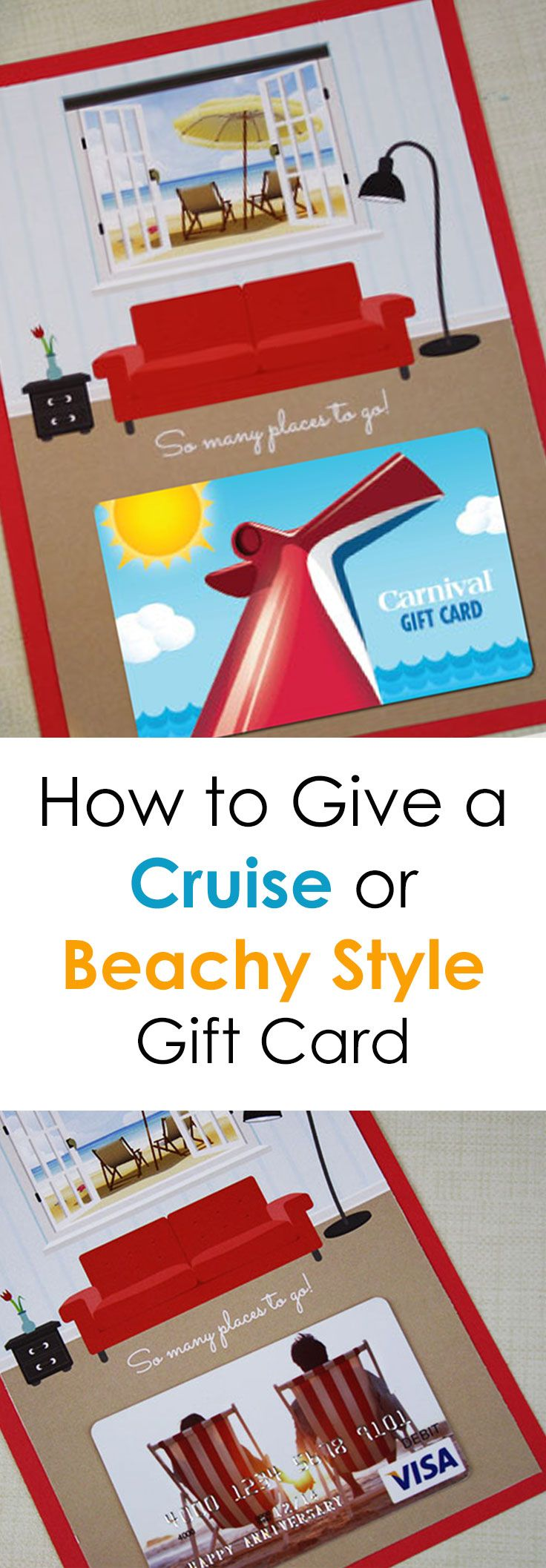 Check out this free printable gift card holder that is perfect for a cruise line gift card, a vacation gift card and any type of beach-themed getaway. In the post, you'll find several travel-themed gift cards plus ways to save on some of your favorite cruise or beach themed gifts.