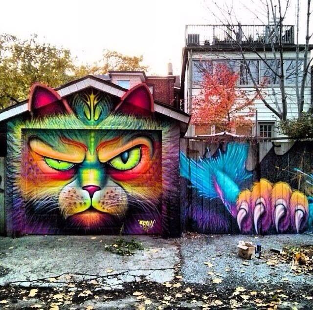 стрит арт картинки на стене гаража
