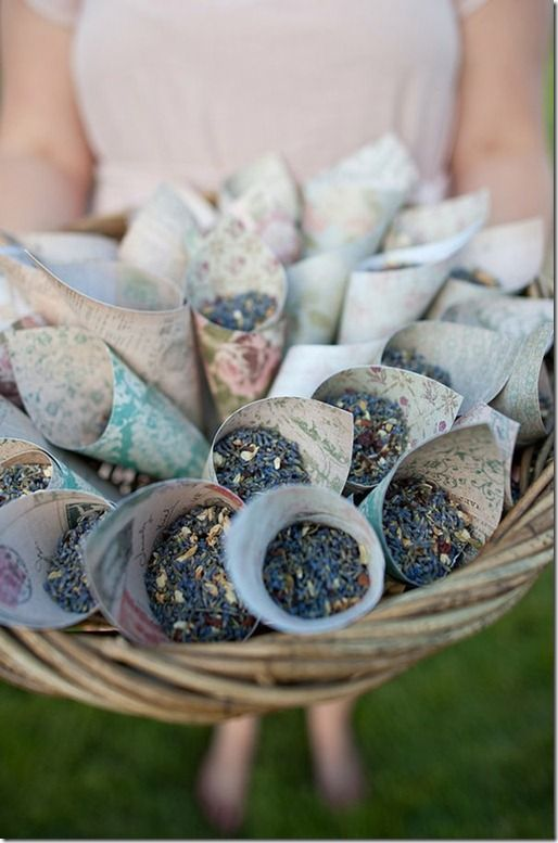 Instead of confetti or bubbles, a lavender toss!