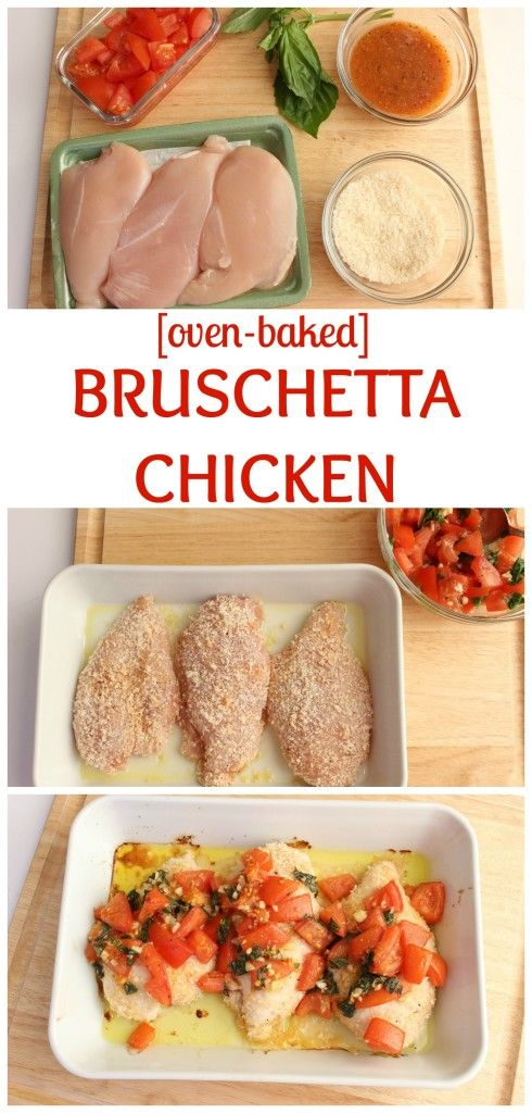 Baked bruschetta chicken breasts are lightly breaded in crunchy panko breadcrumbs and topped with the classic mixture of fresh tomatoes, basil, and garlic. @MomNutrition