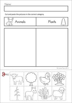 MEGA Math & Literacy Worksheets & Activities - Down on the Farm. 100 Pages in total!! A page from the unit: Categorizing cut and paste - plants and animals