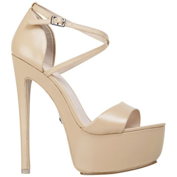 KG Kurt Geiger Women's Nanette Leather Heeled Platform Sandals (200 RON) ❤ liked on Polyvore featuring shoes, sandals, heels, zapatos, high heels, nude, high heel shoes, nude sandals, leather platform sandals and heeled sandals