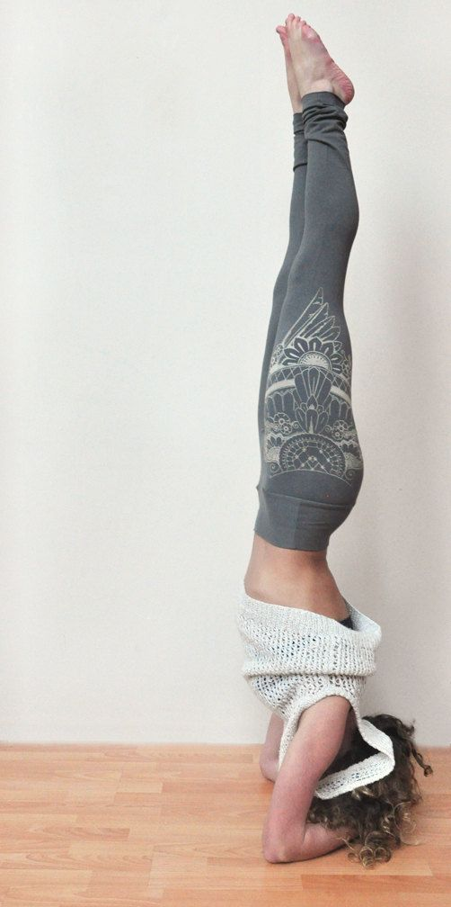 Henna Style Wing Print Yoga Leggings // Navy by seaofwolvesdesign
