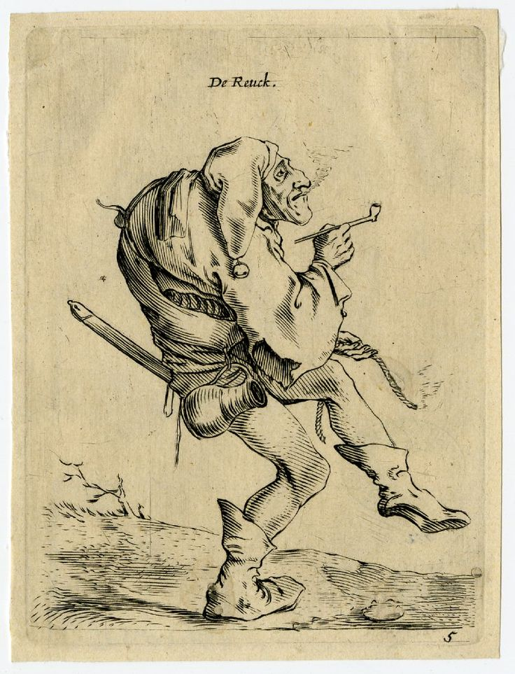 the Saftleven original -- via British Museum. This is Smell from his Five Senses series -- hunchbacked fool smoking a pipe