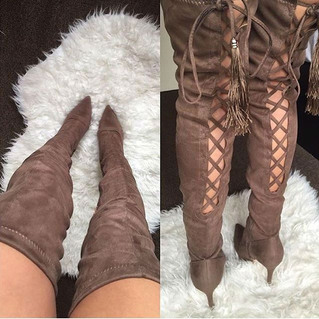 // EDITOR'S NOTE Thigh High Cross Cut Pointy Boots Take it to a new level with those Stunning Stretchy Boot heels. Available to buy in 2colors…