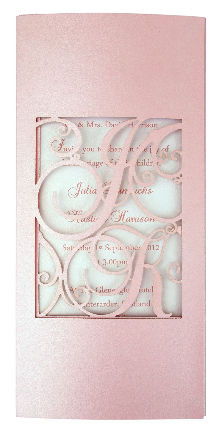 Monogram laser-cut invitations in pink www.intricatecreations.co.uk
