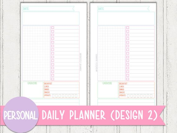 personal size daily planner design 2 printable pastel series