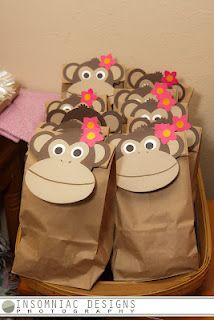Monkey bag toppers. Easy to assemble with basic shapes.