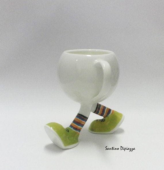 Unique Coffee Mug  Funny Mug  Walking Pottery  by WalkingPottery