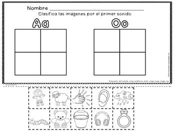 LAS VOCALES - LA LETRA Aa - El abecedario - (SET TWO OF FIVE) - Spanish Resource for the Letter Aa.   A set of 24 pages that focus on Aa as the initial sound for many words. 8 pages are a cut and paste format. The rest focus on tracing, penmanship, coloring to ID the correct initial sound, matching words to pictures, letter stamping, circling the first sound and more!