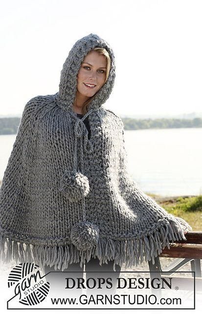 "Ravelry: 110-13 Poncho with hood and pompoms in 2 threads ""Eskimo"" or 1 thread ""Polaris"" pattern by DROPS design (FREE PATTERN)"
