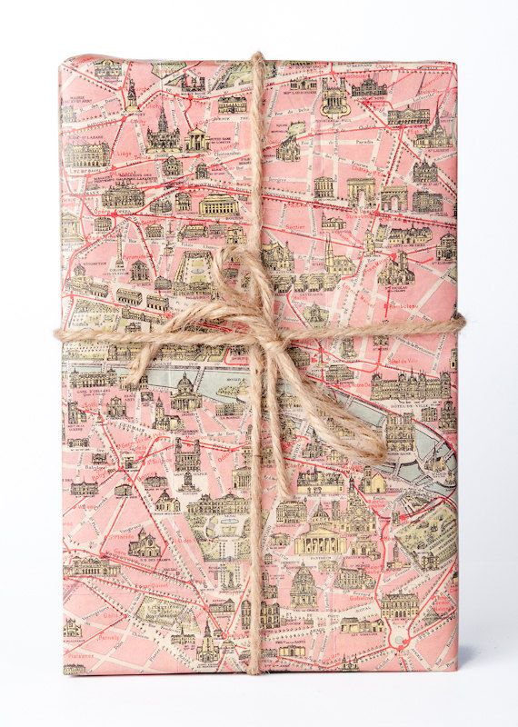 historic map wrapping paper