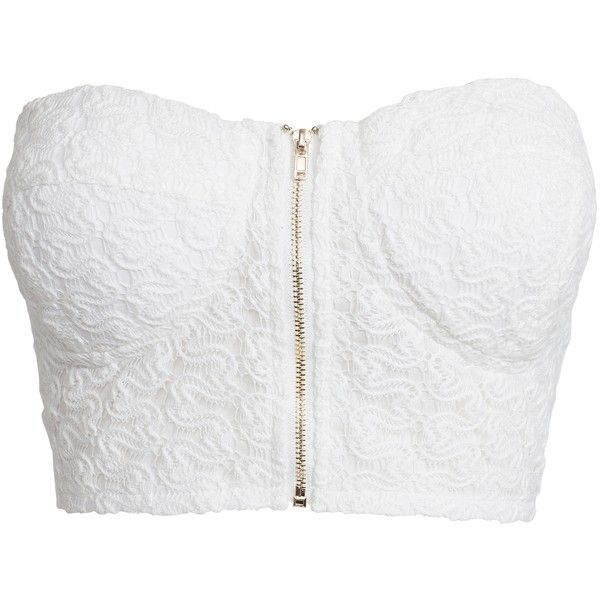 Nly Trend Crochet Bralet ($43) ❤ liked on Polyvore featuring tops, shirts, crop tops, white, womens-fashion, white shirt, crop top, white crop shirt, zipper crop top and white bandeau top