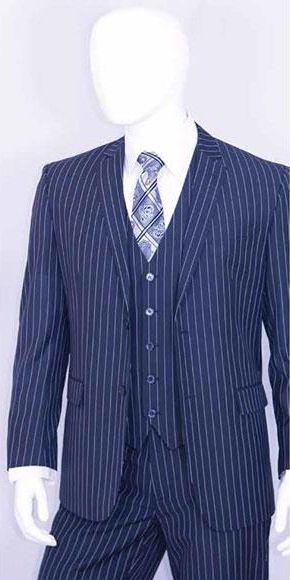 de1054c10835a3 Get a splendid look with bold chalk white strip 3 piece cobalt blue  pinstripe suit for men.