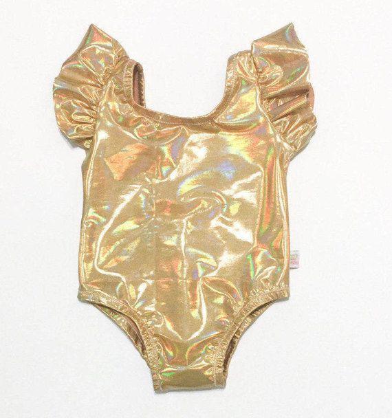 Gold Iridescent  Gymnastics Leotard for Girls  Toddler