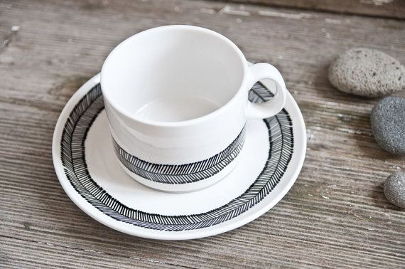Unique wedding gift, weddings, Hand-painted cup & saucer, set somewhat angular, black and white. €28.00, via Etsy.