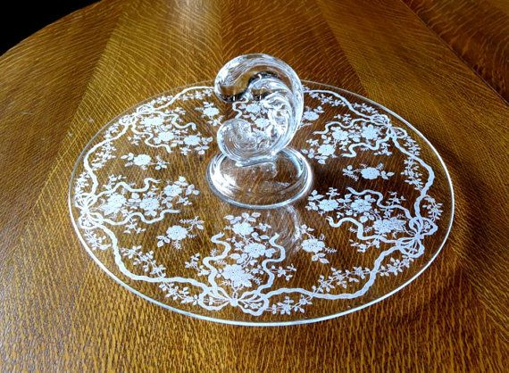 Fostoria Glass Romance Etched Crystal  Sandwich or Cake Center