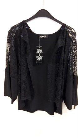 Siyah Likralı Dantel Ceket