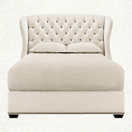 barrister upholstered queen bed with platform in cannes ivory and walnut arhaus furniture