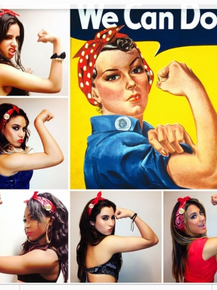 Fifth harmony doing the Rosie the riveter pose they're all so fierce and then theres ally smiling :)