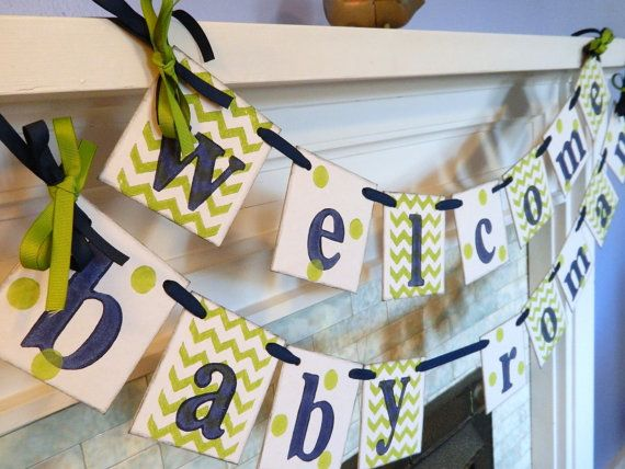 BABY Shower Decor/ Chevron Stripes and Dots/Welcome Baby Banner/Baby Shower Banner/Nursery Decor/Birth Announcement/Photo Prop/Custom colors...