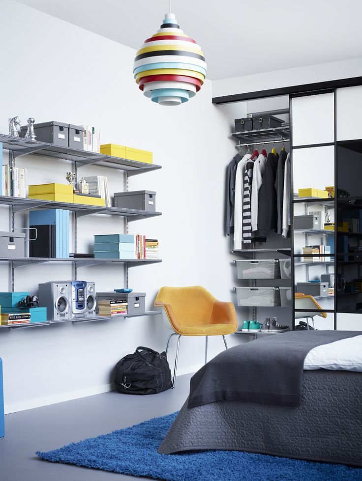 Sovrum med både hyllförvaring och garderob. Vilka färger är dina favoriter?