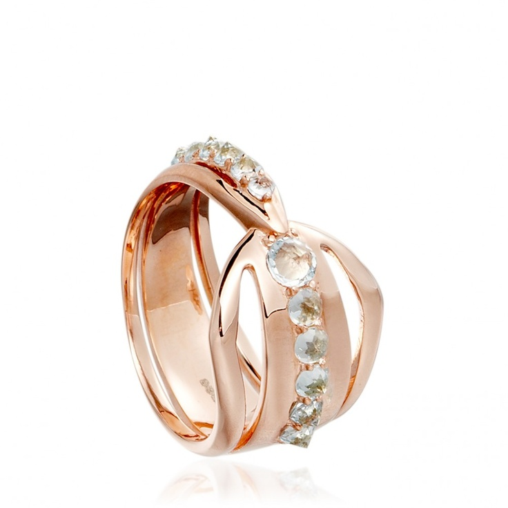 Circe rose gold & blue topaz 'Claw' #ring by Katie Rowland