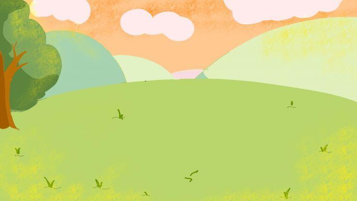 Background Design Cute Cartoon Grass Season Reka Bentuk Latar