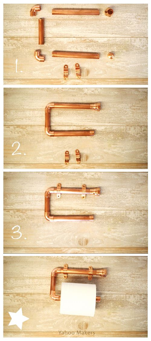 Add a touch of copper to your bathroom by making this super simple DIY copper pipe toilet paper holder.