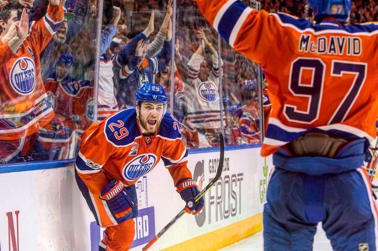 "60 Likes, 2 Comments - Edmonton Sun (@edmontonsun) on Instagram: ""Edmonton Oilers Leon Draisaitl (29) and Connor McDavid (97) celebrate the game winning goal on the…"""