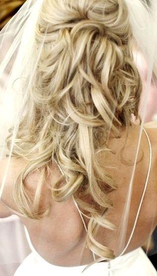 Bride's half up long blonde curls wedding hair ideas
