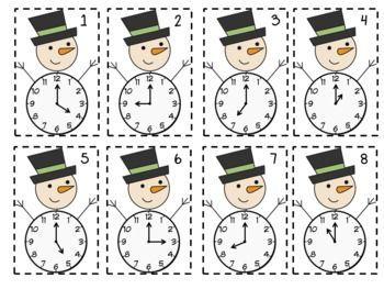 Frosty Time Freebie: telling time to the hour and half hour
