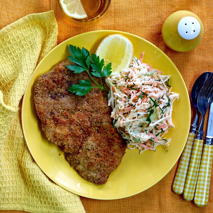 PORK SCHNITZEL AND SLAW WITH CIDER DRESSING. If you have never tried pork schnitzel, you will be blown away! It is a melt in your mouth experience the whole family will love.  For this dish we have created a lemon, garlic and herb finish to add a wonderful zing to the crunchy schnitzel coating. All served with a classic apple cider slaw. A winner any night of the week. 20 Minutes. Free Range Pork.