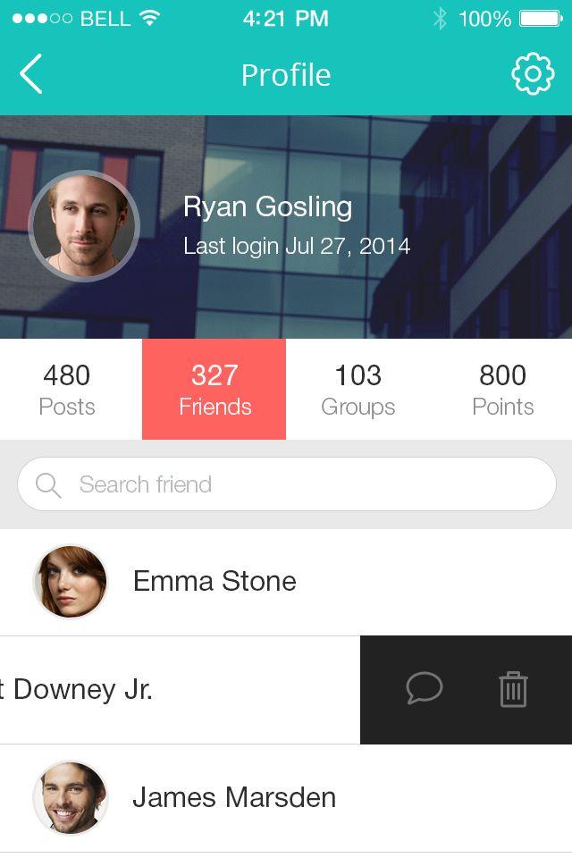 Profile for social news app.