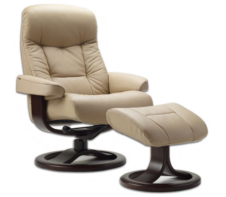 Fjords Muldal Ergonomic Recliner Chair and Ottoman Scandinavian Lounger