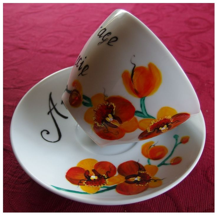 Orchidea by Agnieszka Sokołowska. Hand painted on porcelain. All my porcelains are painted with Talens Decorfin Porcelain and baked in high temperature, so they are pretty durable.