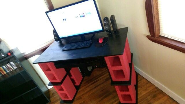 diy cinder block computer desk made by my lovely fianc