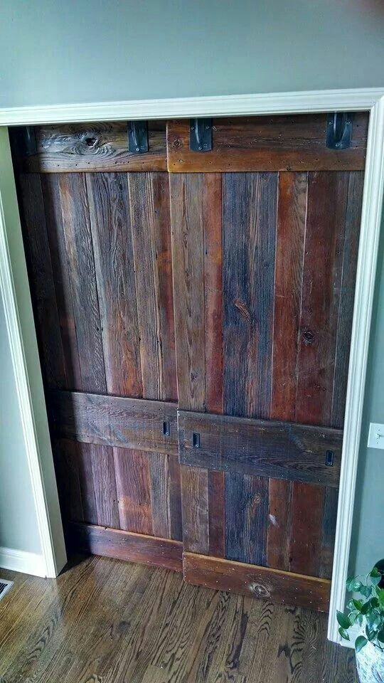 Bypass doors open to one side of the opening. We made these out of old - 117 Best Barn Wood Doors On Antique Barn Door Rollers And Track